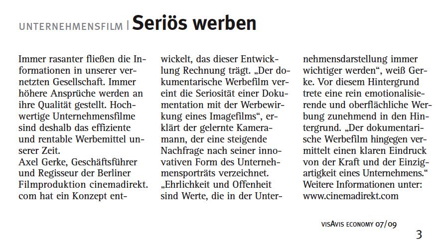 Pressebericht cinemadirekt